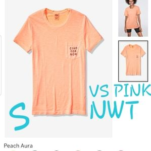 S NWT VS PINK PEACH CAMPUS CREWNECK POCKET TEE SS